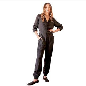 Lulus Black Utility Jumpsuit Long Sleeve Medium